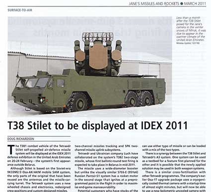 "«Jane's Missiles & rockets» March 2011 – ""T38 Stilet to be displayed at IDEX 2011"""